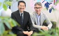 西岡靖之法政大学教授(左)と長島聡社長