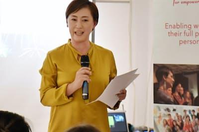 サッカー元女子日本代表の東明さんはコンサルタン?#36259;?#36578;身した(東京都港区でのイベント)