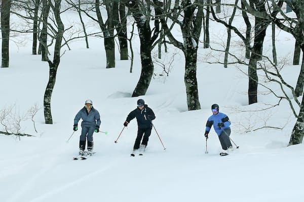 雪の感触を確かめながらスキーを楽しむオーストラリア人観光客(岩手県北上市の夏油高原スキー場)