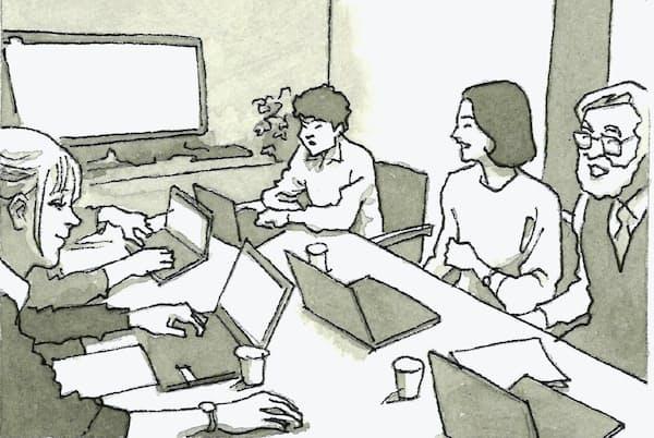 高い成果・付加価値を創出できるマネジメントこそが求められるイラスト・よしおか じゅんいち