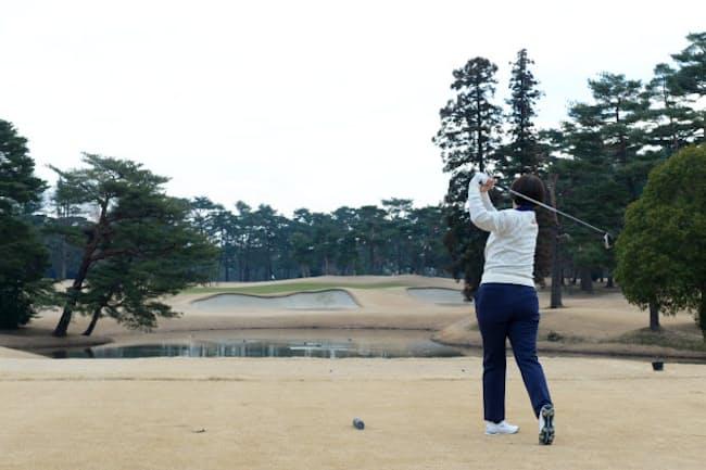 報道公開された東京五輪ゴルフ会場の霞ケ関カンツリー倶楽部(2019年2月25日、埼玉県川越市)