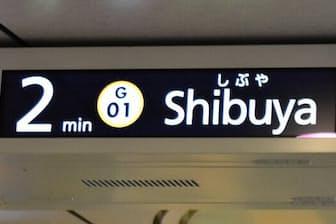 東京メトロの銀座線は電車が到着するまでの時間を表示している