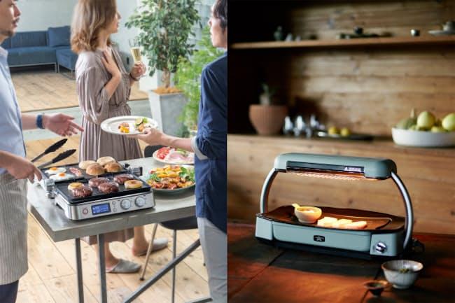 ホームパーティーなどで活躍する最新ホットプレートを紹介する。焼き方に個性があるモデルだ