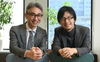 岩佐琢磨・Shiftall代表取締役CEO(右)と長島聡社長
