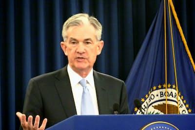米FRBのパウエル議長は2019年3月の記者会見で米国債などの保有量を減らす「量的引き締め」を終了すると宣言した=共同