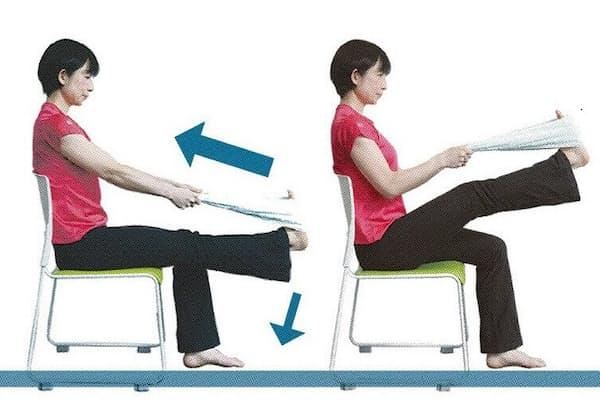「抵抗運動」で、筋肉の柔軟性を取り戻そう(モデルは早稲田大学スポーツ科学学術院非常勤講師・渡辺久美、以下同)