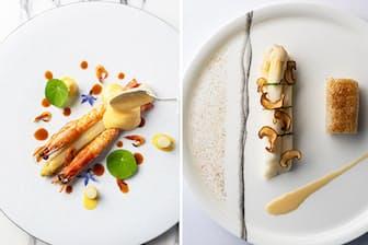シンプルに食べることが多いホワイトアスパラガスも、ミシュランシェフの手にかかれば芸術的な一皿に。(NikkeiLUXEより)
