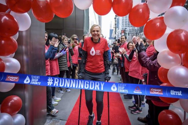 100日連続マラソンに挑んだ水問題の専門家、ミナ・グリさん(2019年2月、ニューヨーク)=AP