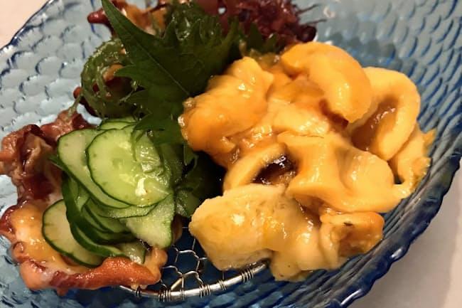 ホヤの味を最も味わえる刺し身。土佐酢などと相性が良い。旬は5~8月