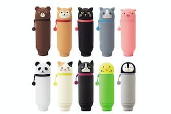 「SMART FIT PuniLabo」スタンドペンケース。上段左からクマ、シバイヌ、クロネコ、ハチワレネコ、ブタ、下段左からパンダ、ミケネコ、ボストンテリア、セキセイインコ、ペンギン。価格は1400円(税別、以下同)。「BIGサイズ」(1600円)もある