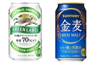 グリーンラベル(左)は2016年に、金麦(右)は19年3月にそれぞれパッケージをリニューアルしている