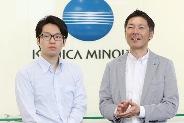 コニカミノルタ人事部、企画労政グループリーダーの臼井強氏(右)と太田潤氏