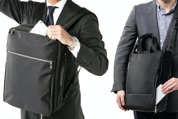 薄マチで身体の正面で抱えやすいだけでなく、その状態でアクセスしやすいポケットなどを装備するのが、乗車マナー対応リュック