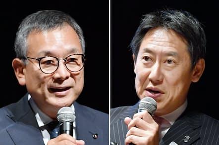 講演するJリーグの村井満チェアマン(左)とスポーツ庁の鈴木大地長官