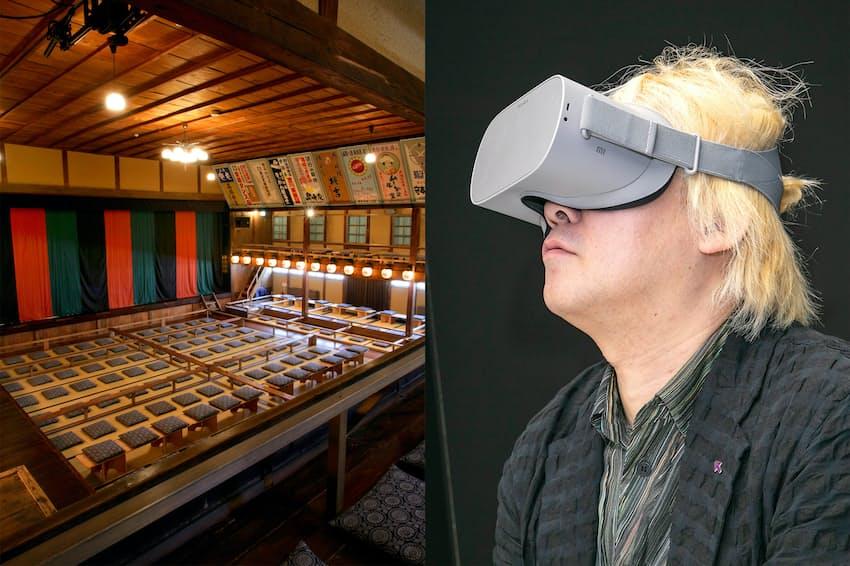 VRで歌舞伎を楽しむ「VR歌舞伎」を津田大介さんが体験した(写真左はVR撮影を行った豊岡市出石町にある永楽館)