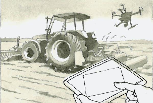スマート農業は便利で豊かな農村社会を実現する力を秘めている=イラスト・よしおか じゅんいち
