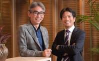 ローランド・ベルガーの長島聡社長(左)とアイディアポイントの岩田徹社長(右)