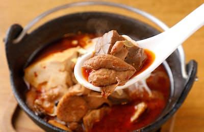 「ゆずのたね」の「四川火鍋もつ煮」