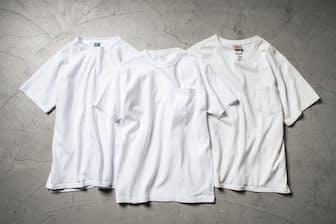 最近、人気のヘビーオンスTシャツ。生地が厚いため、無地Tシャツ1枚だけでも下着に見えない