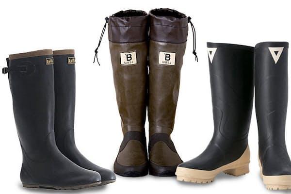 (左から)田植え用、バードウオッチング用、魚河岸用。業務用長靴はアウトドアブームなどで注目の的。機能性とデザイン性とお手ごろ価格が消費者の心をつかむ