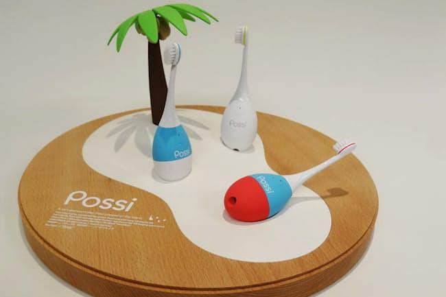 「ポッシ」は歯磨きをしながら振動や音楽が楽しめる。子供がなじみやすいように生き物のような有機的なデザインにしたという