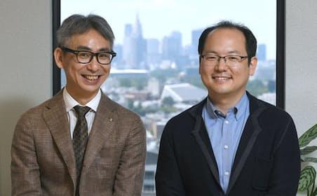ローランド・ベルガーの長島聡社長(左)とエイシングの出澤純一・代表取締役CEO(右)