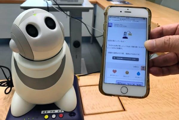 同居ロボットは高齢者を見守り、情報を遠方の家族に配信する(7月、川崎市のNEC社内)