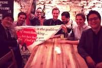 大分の蔵元を招いてスイス料理とのペアリングナイトを開催。右端が小林佑太朗さん