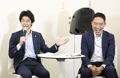 がん治療中の上司との良好な関係作りについて話す、がんサバイバーの金澤さん(右)と上司の春野さん。「がんアライ部」の勉強会にて