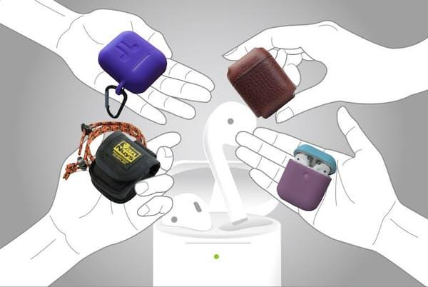 アップルの完全ワイヤレスイヤホン「AirPods」。ケースにつけるケースも人気だという