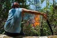 油とガソリンを混ぜた液体をまいて点火し、炎が広がるのを見つめる男性。森がなくなれば、ここはウシの牧場になる(PHOTOGRAPH BY CHARLIE HAMILTON JAMES)