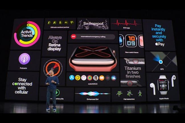 米アップルは米国で発表会を開催。その中で新型スマートウォッチの説明に約20分もの時間を割いた=提供/米Apple