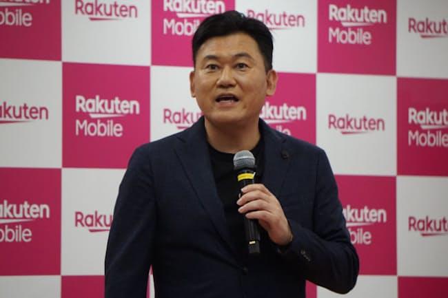 楽天モバイルの2019年10月の携帯電話事業参入に向けたサービス発表会に登壇した、楽天の代表取締役会長兼社長・三木谷浩史氏