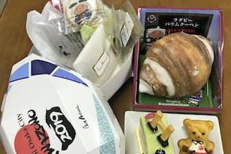 地元洋菓子店がラグビーW杯の観戦みやげ用に売り出した焼き菓子など