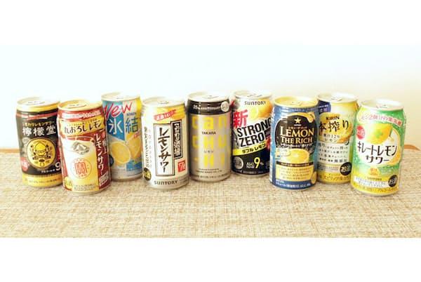 今回は8種の缶酎ハイ・レモンサワーをテイスティング。レモンの果汁感などに大きな差が