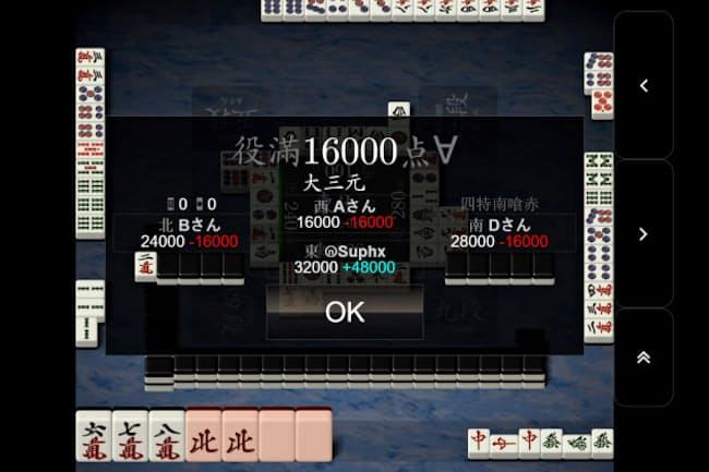 マイクロソフトのAI「Suphx」はオンラインで人間と5000回以上の対戦を重ねた(日本マイクロソフトを通じて天鳳が提供)