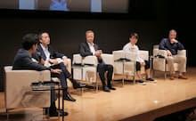 左からNEC 岩田太地氏、衆議院議員 村井英樹氏、バンクソフト CEO テリエ・チョス氏、ワンファイナンシャル CEO 山内奏人氏、元シンガポールDBS銀行 CIOスティーブ・モナハン氏