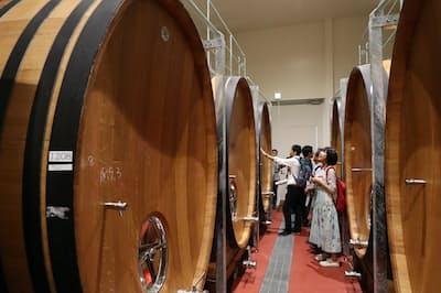 地下の樽庫には約3000リットルの樽が並ぶ。プレミアムコースで見学できる (山梨県甲州市のシャトー・メルシャン勝沼ワイナリー)