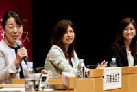 討論する(左から)積水ハウス住生活研究所の河崎由美子さん、東京海上日動火災保険の山下真粧子さん、アフラック生命保険の吉田朝日さん(東京・大手町)