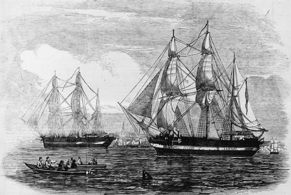 ジョン・フランクリン卿の遠征隊が英国を出港した1845年当時、テラー号とエレバス号は最新鋭の軍艦だった(PHOTOGRAPH BY ILLUSTRATED LONDON NEWS, GETTY)