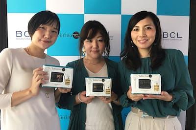 BCLカンパニー企画2部 齊藤久美子次長(左)、同社販売推進部 大小原碧里係長(中央)、同社宣伝部 御殿谷りえ課長。3人はサボリーノを開発したプロジェクトチーム「女子開発ラボ」のメンバー