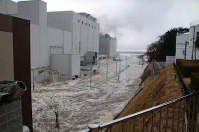 福島第2原発における津波の状況=東京電力提供