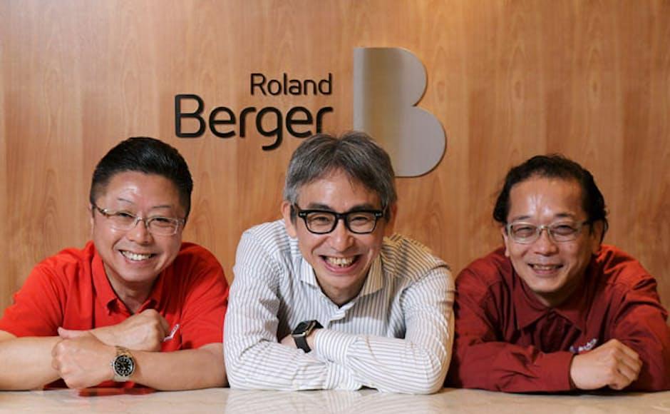 左から、浜野製作所の浜野慶一代表取締役CEO、ローランド・ベルガーの長島聡社長、浜野製作所の金岡裕之専務取締役