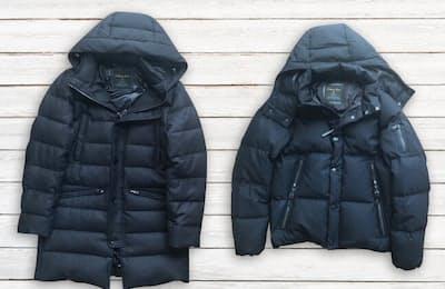 西川ダウンのウールフーデッドダウンコート(左)とウールG2ジャケット