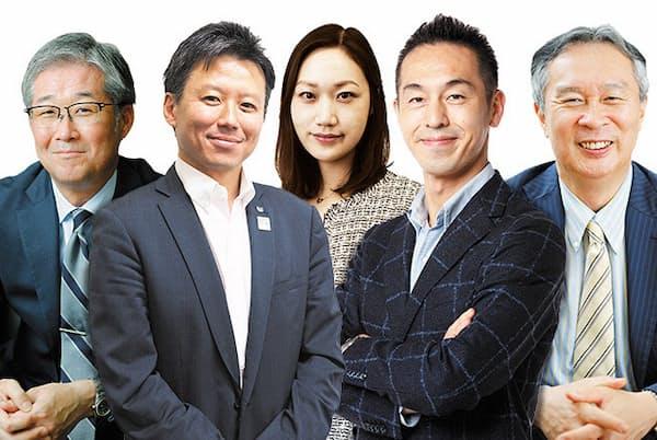 左から日本生命保険の今井孝之、キヤノンの橋本大介、サイバーエージェントの石田裕子、曽山哲人、カゴメの有沢正人の各氏