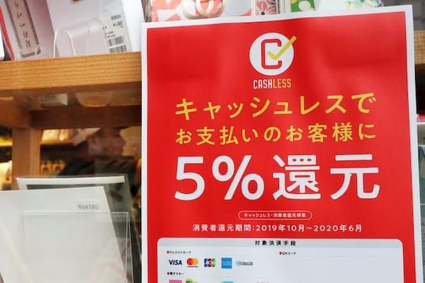 ポイント還元事業のポスターのある店が増えている