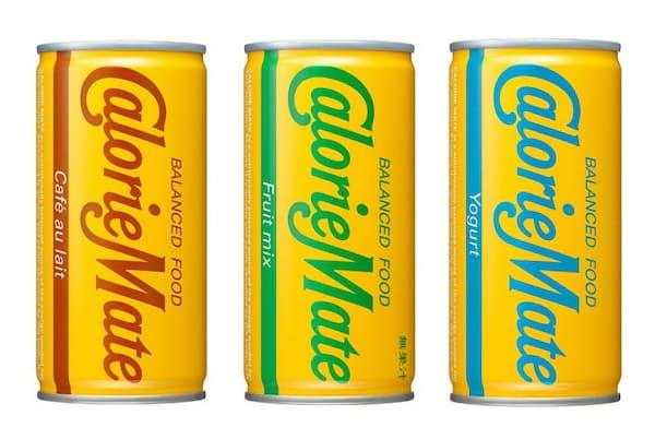 新発売の「カロリーメイト リキッド」の3タイプ。左から「カフェオレ味」、「フルーツミックス味」、「ヨーグルト味」