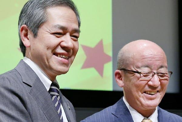 次期社長には、社員の個々の力を引き出せる田口氏(左)を選んだ