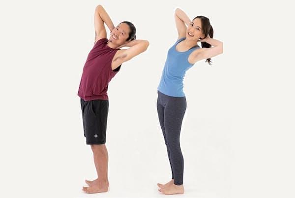 ぽっこり腹解消にはお腹の筋肉を伸ばす腹筋が効果的(左は考案者の中村尚人さん)