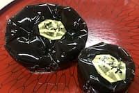 ごつごつした石炭をかたどった羊羹「黒ダイヤ」はあっさりした風味